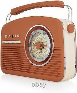 Akai A60010VDABBO Portable Retro Vintage Style DAB Radio in Burnt Orange New