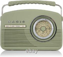 Akai A60010VDABSG Portable Retro Vintage Style DAB Radio in Sage Green New