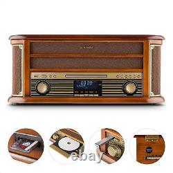 B-Stock Retro Turntable DAB Radio Bluetooth Stereo CD Player Cassette USB