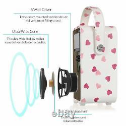 DAB+ Radio Bluetooth FM Alarm Retro Mini by VQ Emma Bridgewater Pink Heart