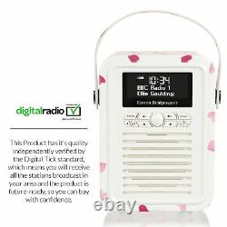 DAB+ Radio Bluetooth FM Alarm Retro Mini by VQ Emma Bridgewater Pink Hearts