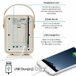 DAB+ Radio Bluetooth Portable Speaker FM & Alarm Retro Mini by VQ Cream