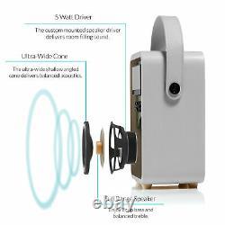 DAB+ Radio Bluetooth Portable Speaker FM & Alarm Retro Mini by VQ Light Grey