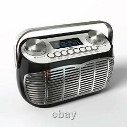 DETROIT DAB Radio Alarm Clock Mains Powered Or Battery DAB/DAB+/FM Retro (Black)