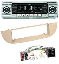 Dietz Bluetooth MP3 DAB USB Autoradio für Fiat 500 ab 2007 perlgrau beige
