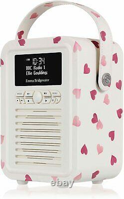 Emma Bridgewater Pink Hearts VQ Portable Retro Mini DAB and DAB+ Digital Radio
