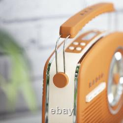 NEW Akai Portable Retro Vintage Style DAB Radio in Orange Mains or Battery