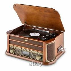 Retro Vinyl Turntable Stereo Speaker Record DAB CD Player Radio Bluetooth Brown