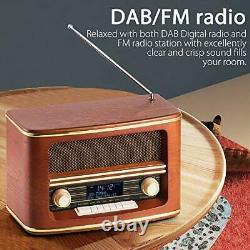 Retro Wood FM/DAB+(Plus) Digital Radio Loud Volume with Wireless