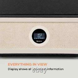 Retro vinyl Player Turntable DAB FM Radio Bluetooth Stereo Stand Remote Black