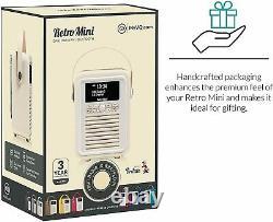 VQ Retro Mini DAB/DAB+ Digital & FM Portable Radio Bluetooth Light Grey