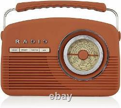 Akai A60010vdabbo Portable Retro Vintage Style Dab Radio À Burnt Orange Nouveau