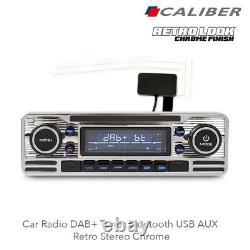 Calibre Rmd120dab-bt Car Radio Dab+ Tuner Bluetooth Usb Aux Rétro Stereo Chrome