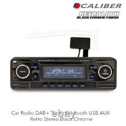 Calibre Rmd120dab-bt/b Autoradio Dab+tuner Bluetooth Usb Aux Rétro Stéréo Noir