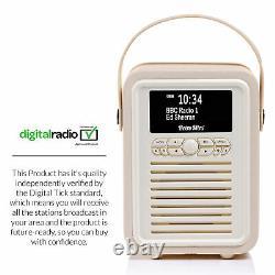 Dab+ Radio Bluetooth Haut-parleur Portable Fm & Alarme Rétro Mini Par Vq Cream