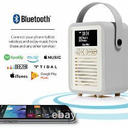 Dab+ Radio Bluetooth Haut-parleur Portable Fm & Alarme Retro Mini Par Vq Light Grey