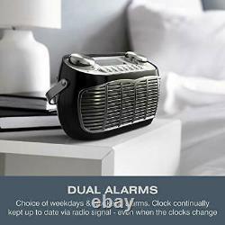 Detroit Dab Réveil Radio Secteur Alimenté Ou Batterie Dab/dab+/fm Retro (noir)
