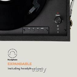 Lecteur De Vinyle Rétro Tournable Dab Fm Radio Bluetooth Stéréo Stand Remote Noir