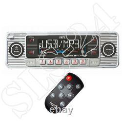 Rétro Look Autoradio Usb Sd/mmc Mp3 Player Mit Bluetooth A2dp Radio + Fb Chrom
