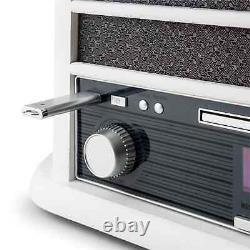 Retro Vinyl Tournable Stereo Haut-parleur Lecteur D'enregistrement Bluetooth Dab CD Radio Blanc