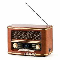 Retro Wood Fm/dab+(plus) Volume De Louage De Radio Numérique Avec Sans Fil