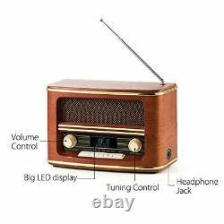Shuman Retro Wood Fm/dab+(plus) Volume De Bande Radio Numérique Avec Connexion Sans Fil