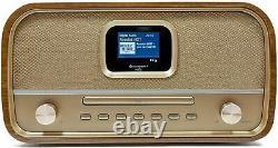 Soundmaster Dab970br Rétro Fm & Dab+ Radio En Bois Avec Lecteur CD Et Bluetooth