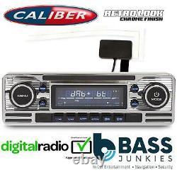 Style Rétro Dab Bluetooth Usb 75x4 W Voiture Stéréo Radio Lecteur Silver Rmd120dab-bt