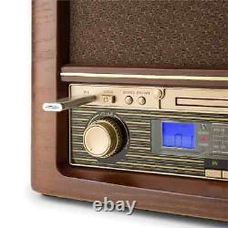 Système Stéréo Rétro Dab Radio Lecteur CD Musique Mp3 Usb Home Audio LCD Brown